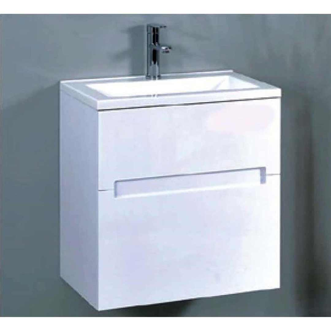 600 wall mounted vanity unit cabinet china basin top gloss white 600mm