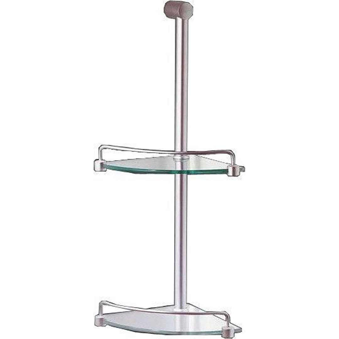 Marbletrend Flinders 2 Tier Metal Corner Glass Shower Shelf