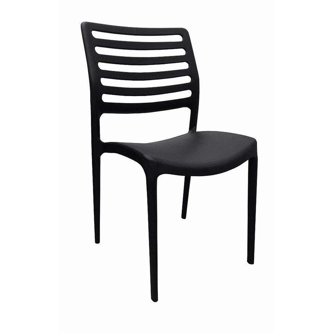 Louise outdoor stackable dining chair black for Stackable outdoor dining chairs