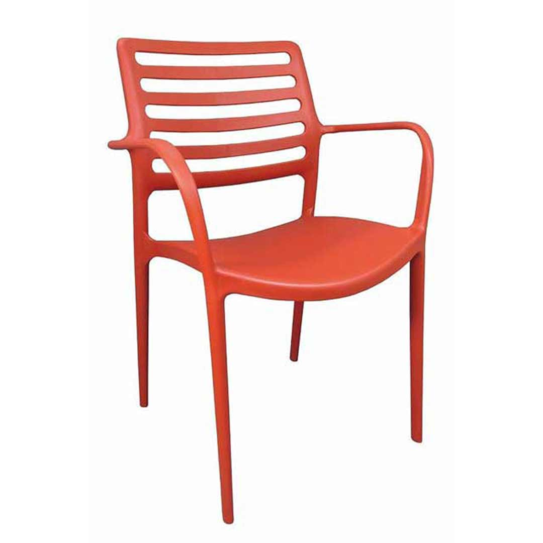 Louise Outdoor Stackable Dining Chair Red With Arms