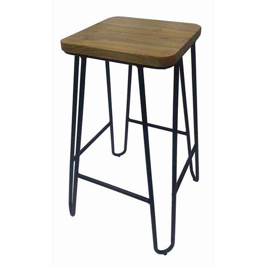 Loop rustic stackable black metal hairpin bar stool with for Hairpin cafe chair