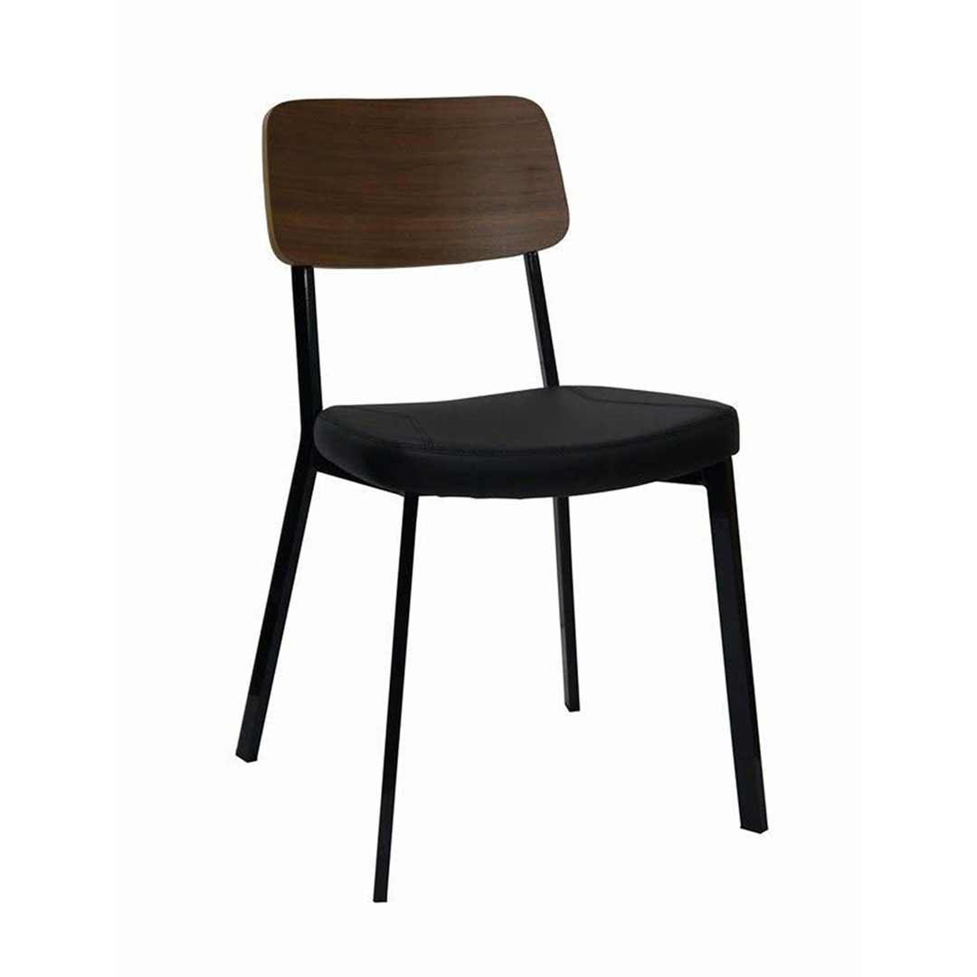 Estelle Dining Chair With Padded Vinyl Seat Black Walnut