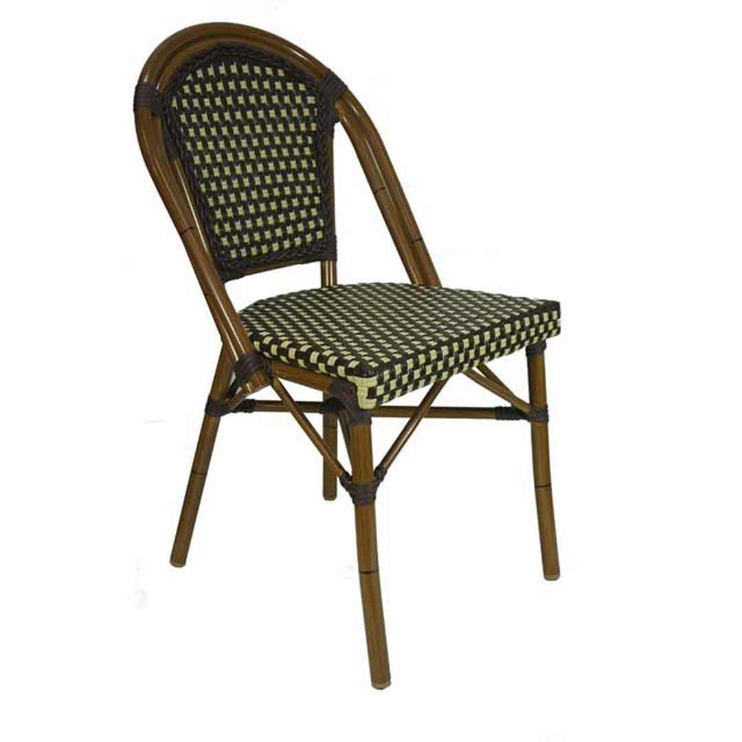 Paris Replica Aluminium Ratten Outdoor Parisian Cafe Chair Brown Cream