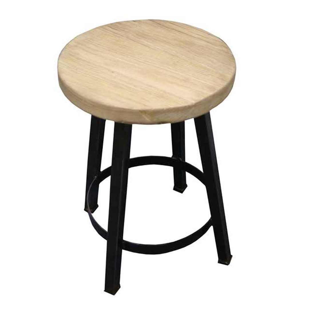 Rustic Elm Metal Timber Stool - 500mm