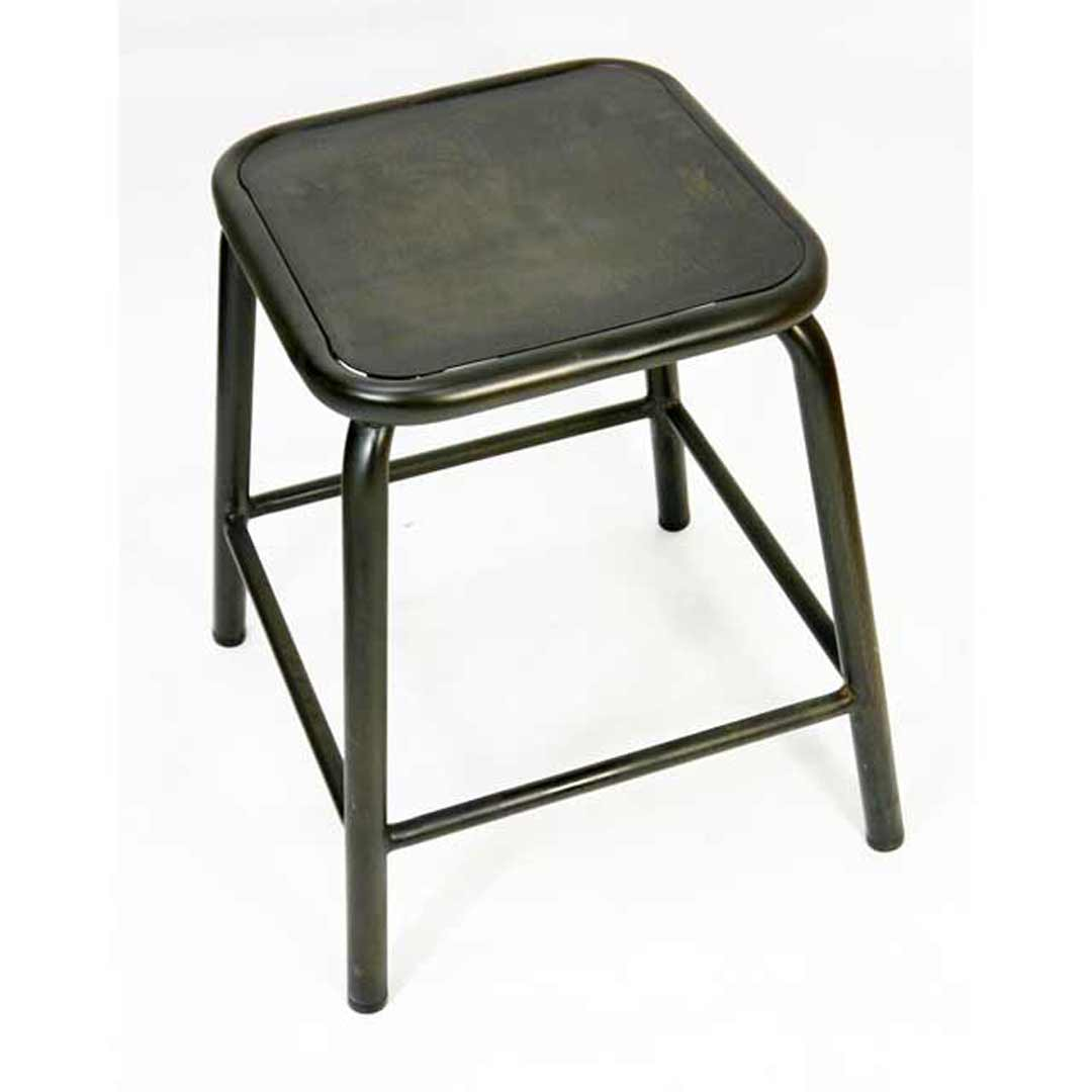 Metal Stackable Retro Chair Height Stool 450mm Coffee Rust