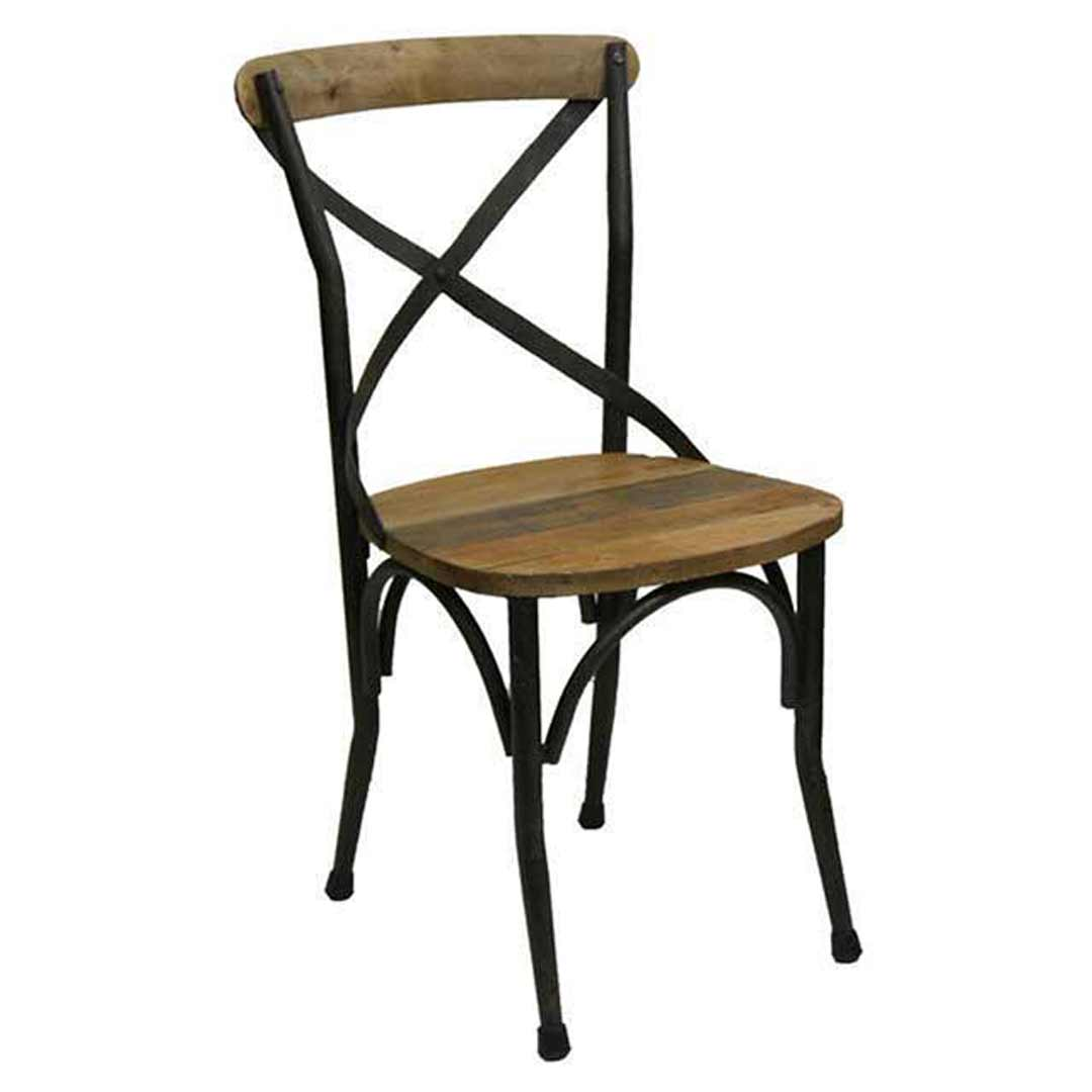 Rustic Cross Back Timber and Metal Chair
