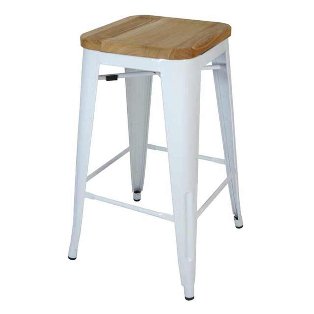 Tolix bar stool w ash seat replica pauchard marais 660mm white for Tolix stuhl replik