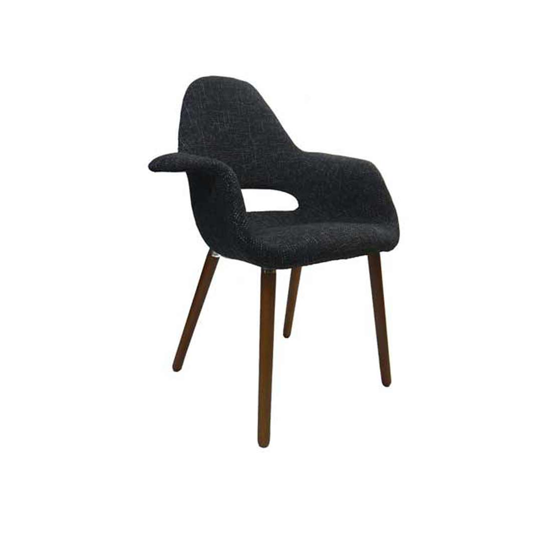 Organic Eames Replica Padded Armchair Cafe Lounge Chair Black