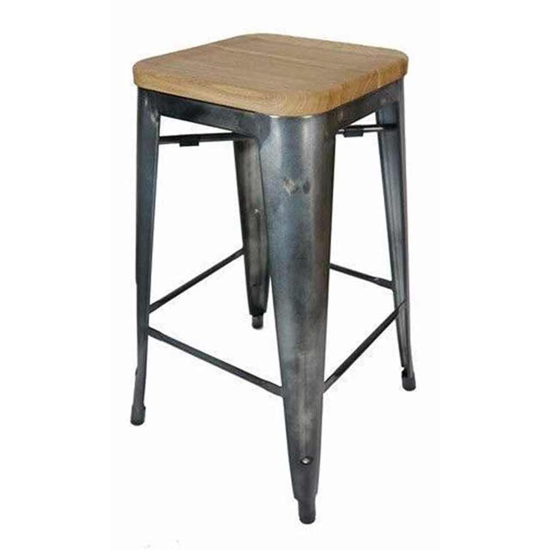 Tolix bar stool w ash seat replica pauchard marais 660mm gun metal - Tolix marais counter stool ...