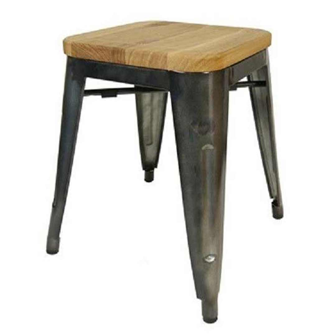 Tolix Stool w Ash Seat Replica Pauchard Marais 460mm Gun Metal
