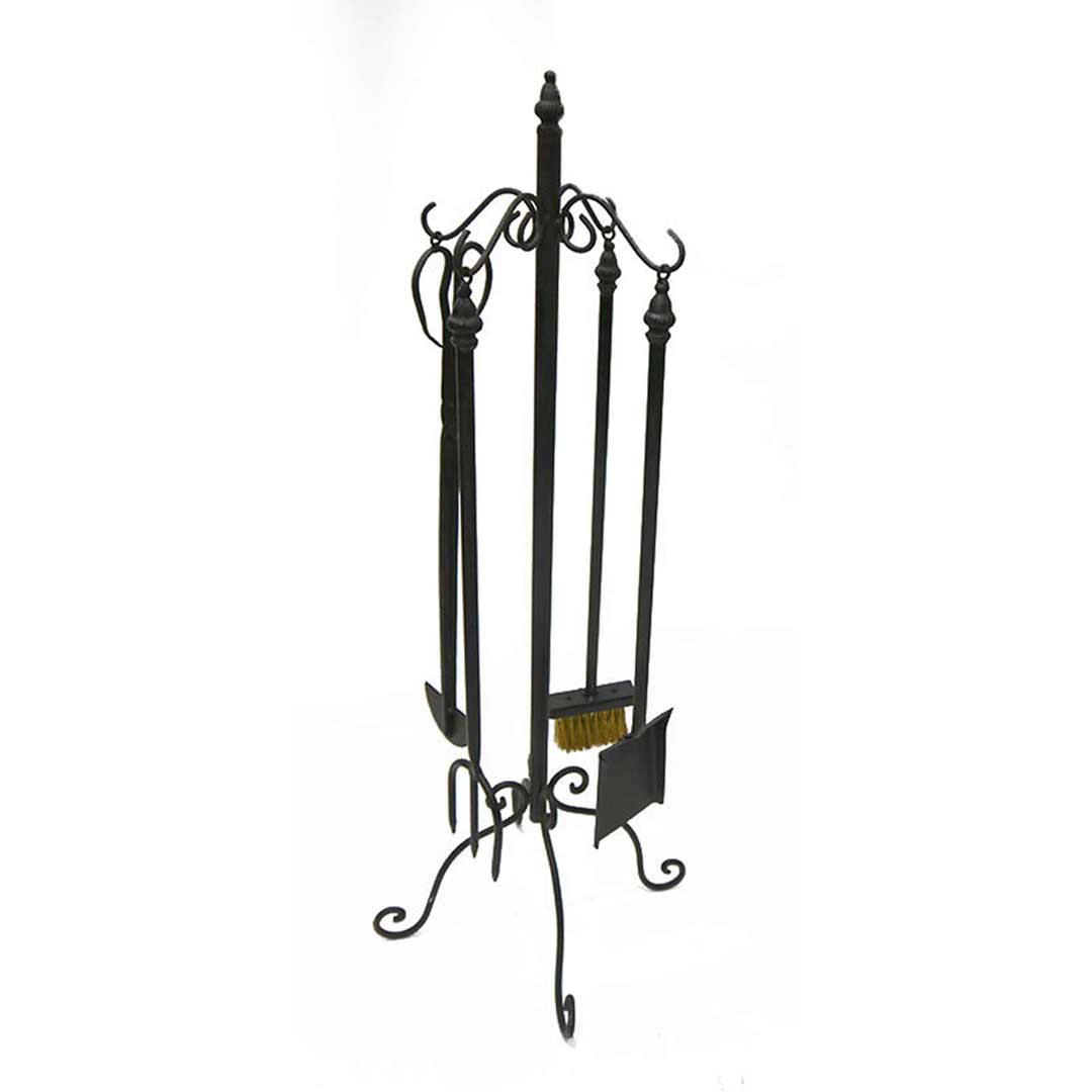 5 Piece Fireplace Tool Set Black