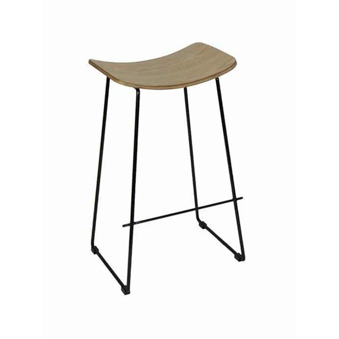 Lily Metal Kitchen Bar Stool - Black Frame Plywood Seat