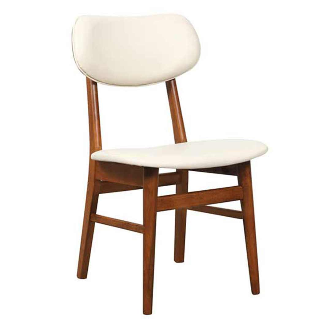 Gangnam Timber Dining Chair Cream Vinyl Padded Seat Antique Maple