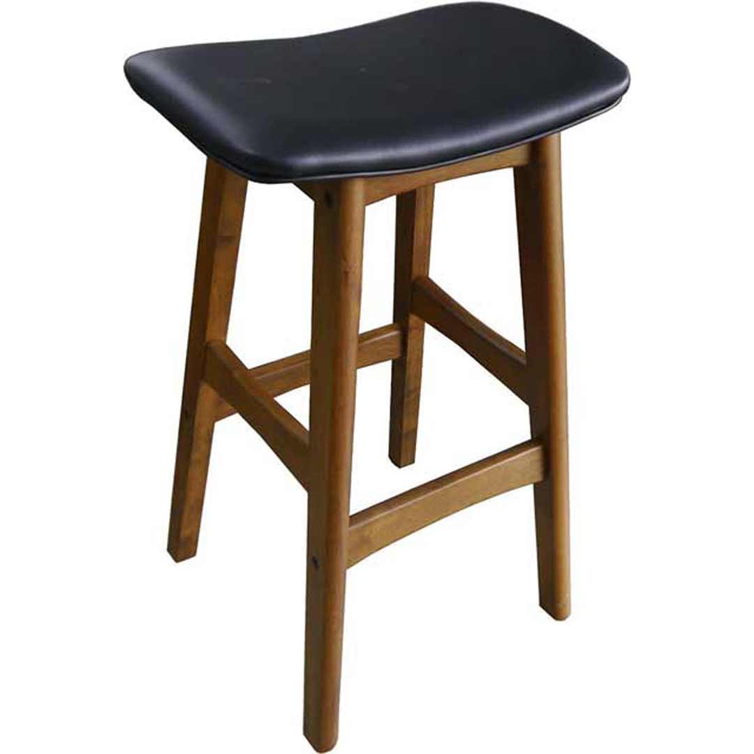Gangnam Timber Bar Stool   Teak + Black Seat
