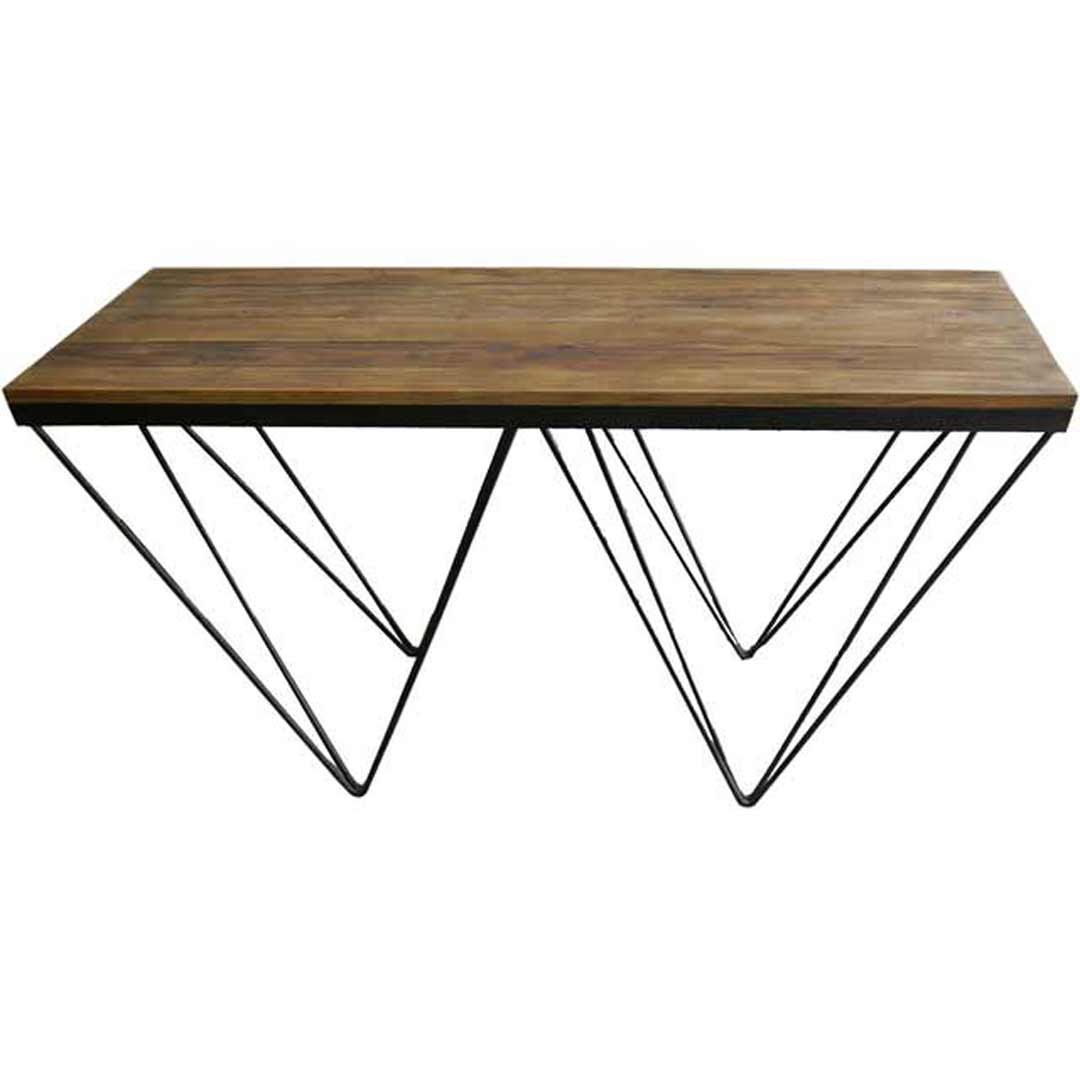 Recycled Timber Metal Rustic Hall Table Console Vintage V Leg