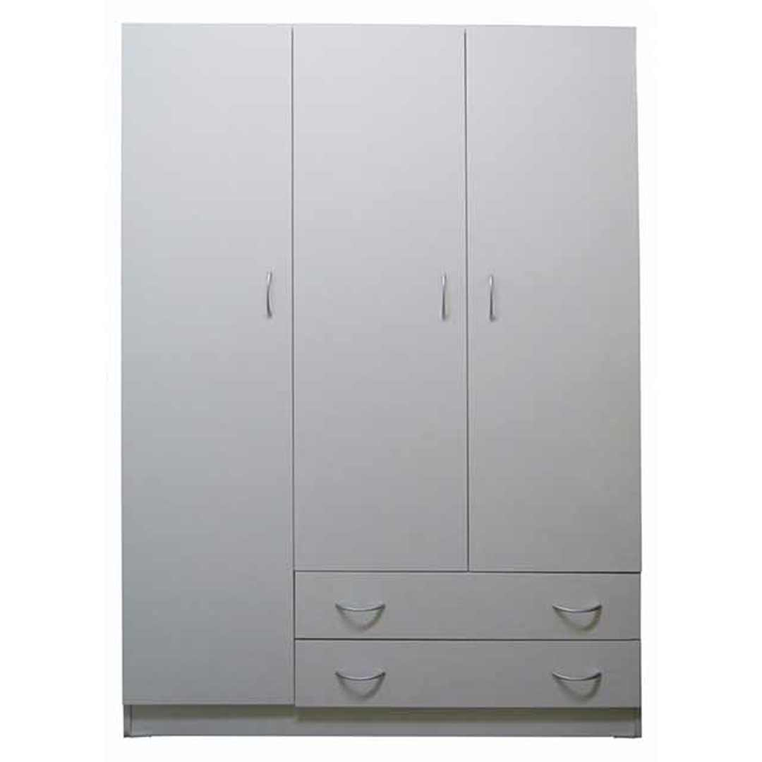 Riteway 3 Door 2 Drw Budget Melamine Timber White Clothes