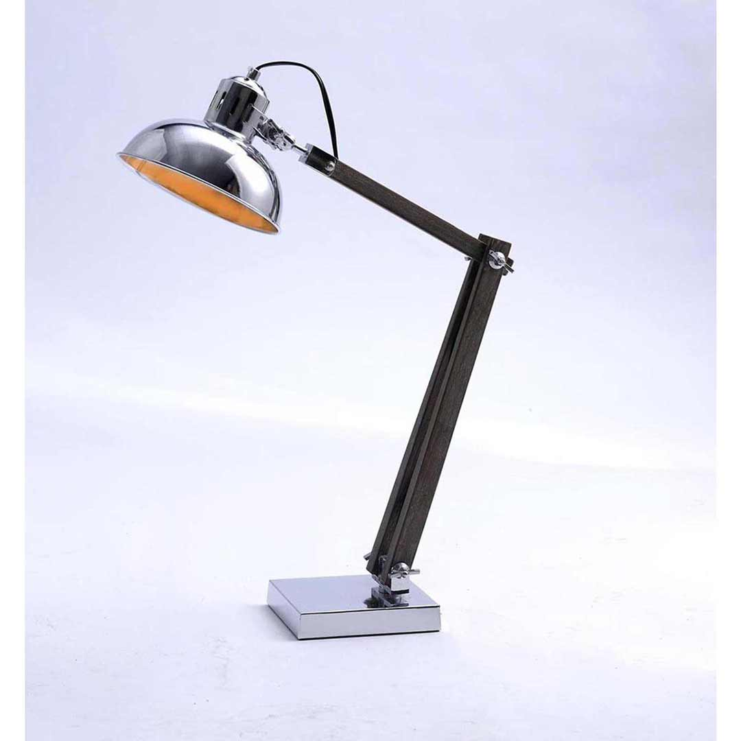 Industrial Chrome Gourd Shade and Base Table Lamp 75088