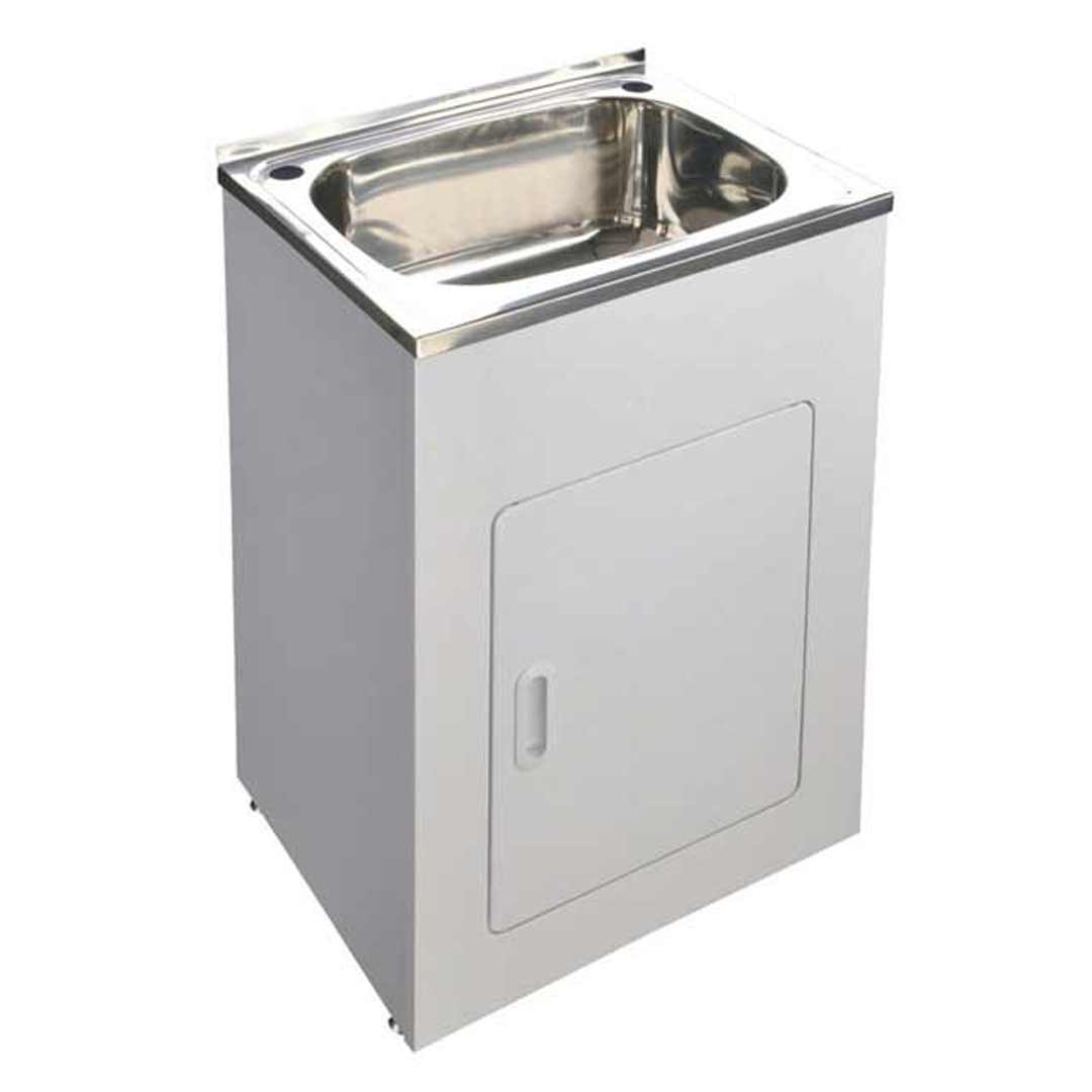 Unique Yakka Laundry Cabinet SINK TROUGH SS 45 Ltr Tub Bypass & outlet