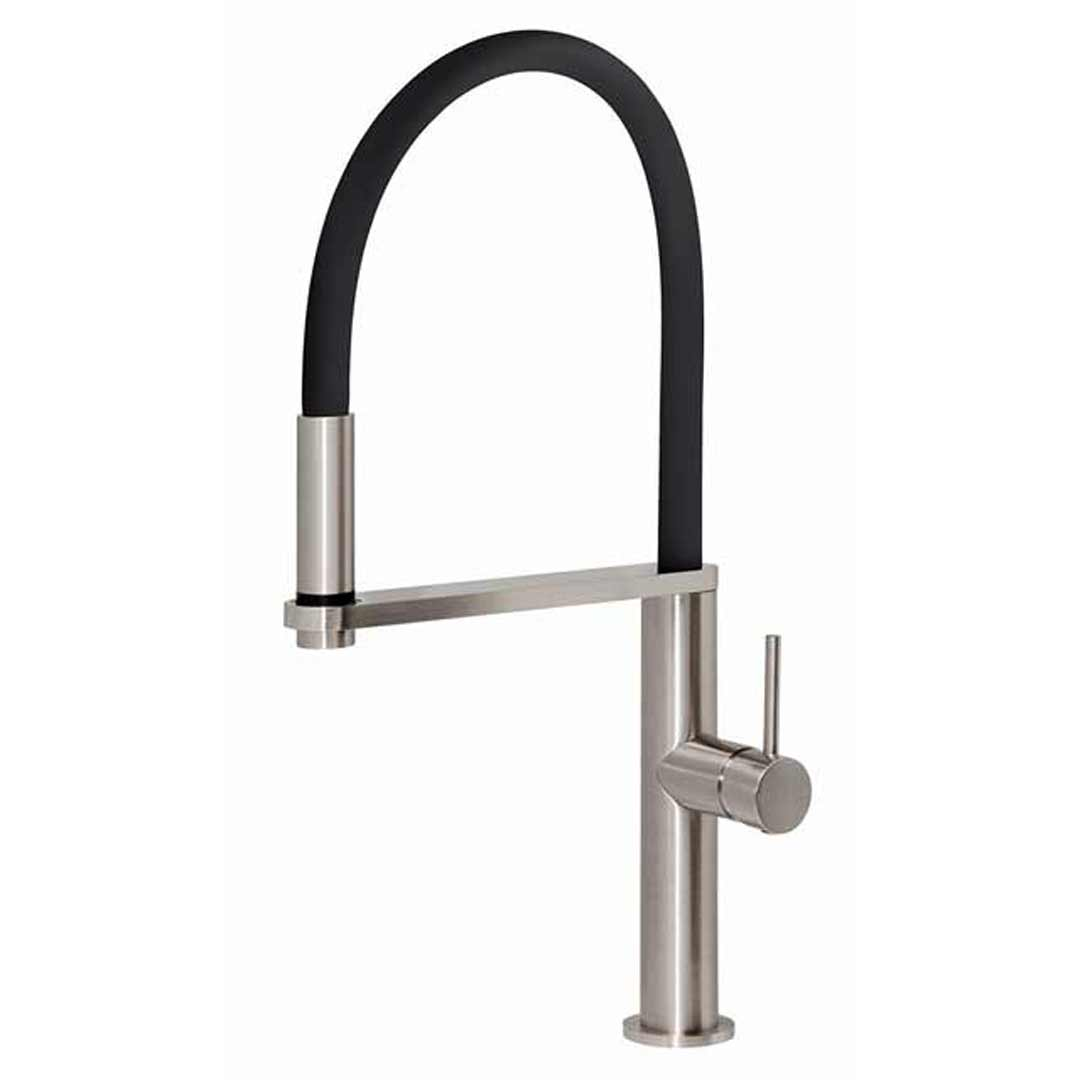 Blix Flexible Hose Sink Mixer Round 10473100BN Brushed Nickel Tap