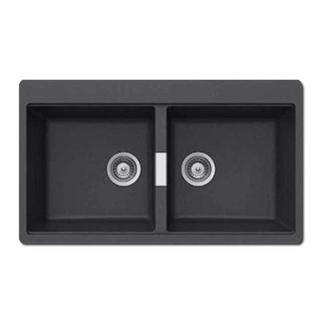 abey n200s soho schock double bowl insert sink stone - Abey Kitchen Sinks