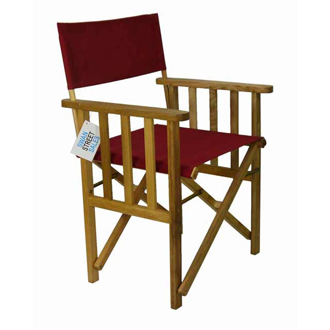 Directors Outdoor Folding Deck Chair Timber Side Slats Polyester Ruby Red