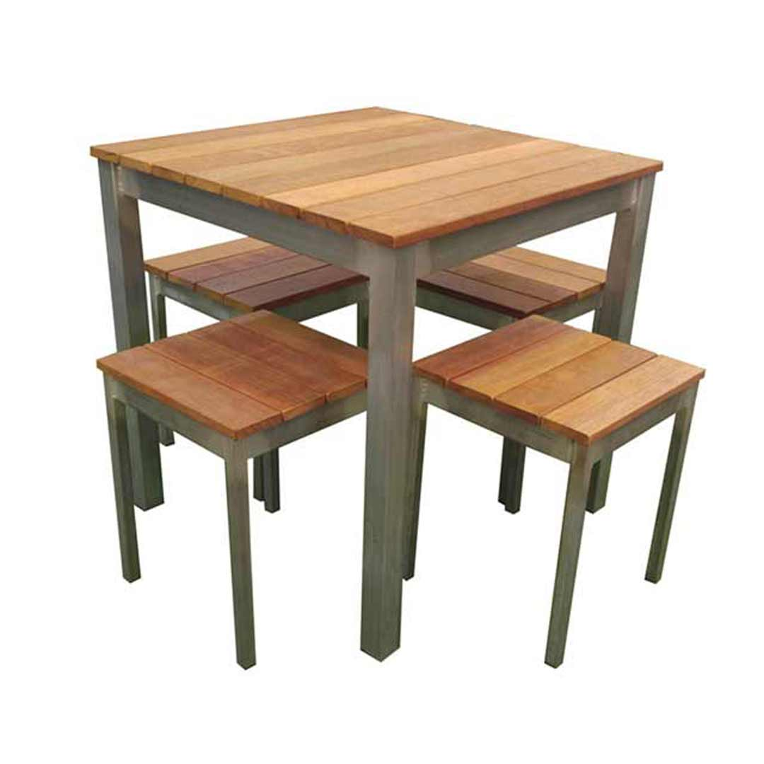 Beer Garden Outdoor Furniture 5 Piece Galvanised Steel Timber Table and Chair