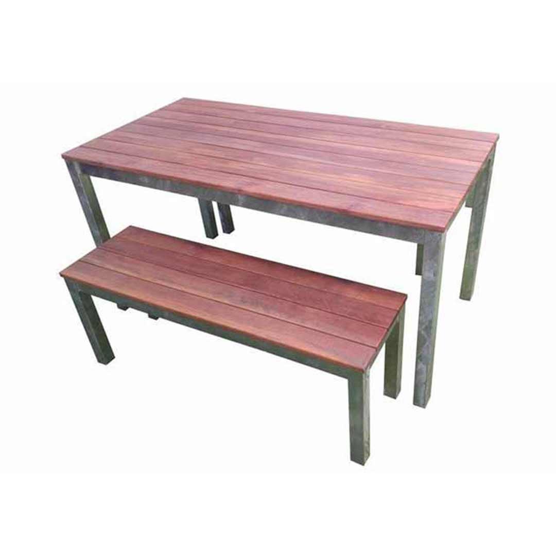 Swan beer garden outdoor furniture 1500 galvanised timber table bench set ebay - Garden bench ideas complete piece heaven ...