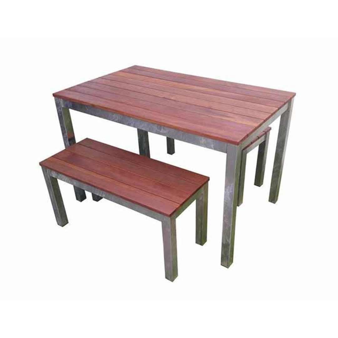 beer garden 3 piece 1200 galvanised steel timber bench setting