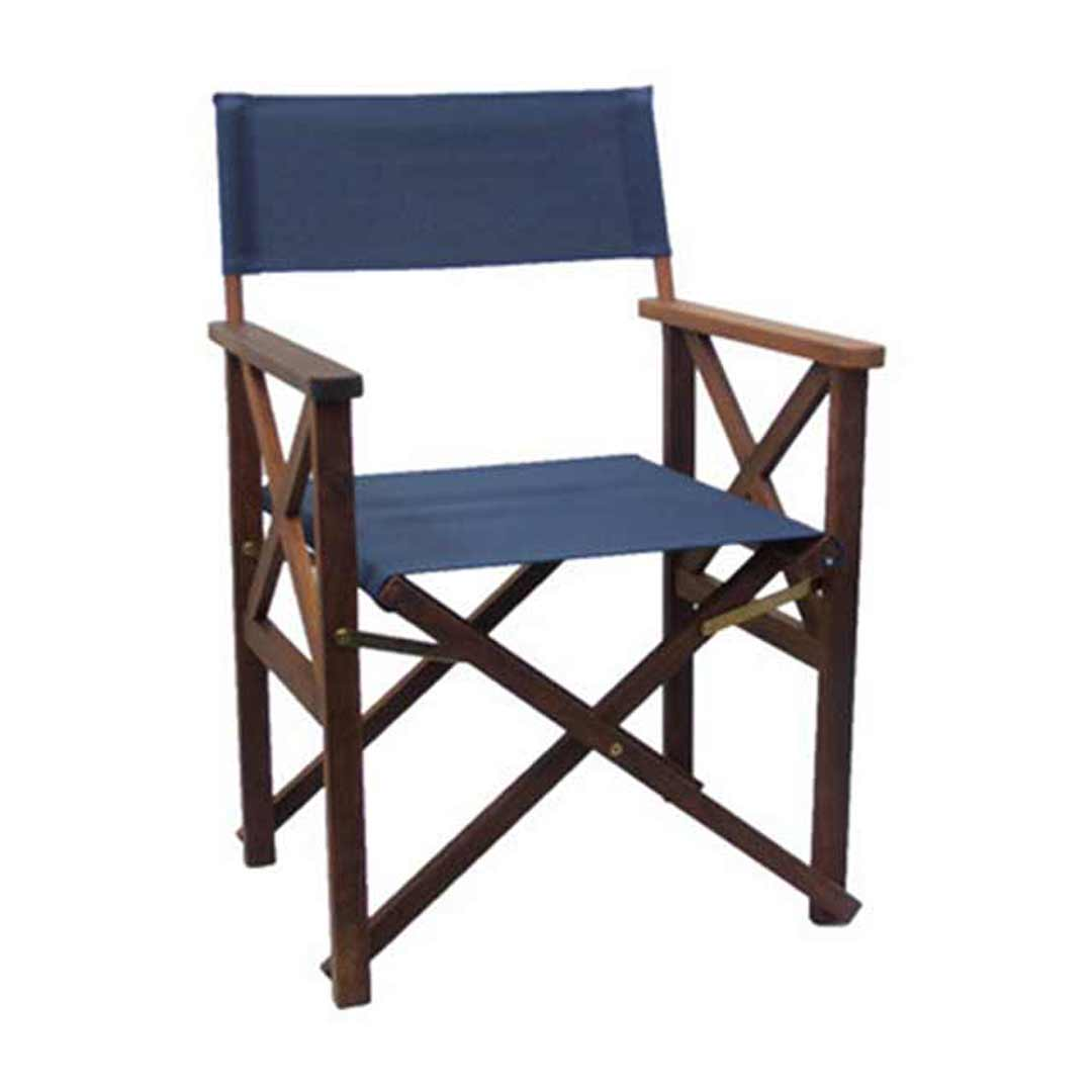 Directors Folding Outdoor Deck Chair Timber Polyester Blue