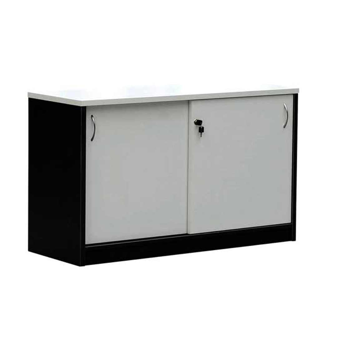 Swan Sliding Door Buffet Lockable Cabinet 1.2m wide Charcoal/White