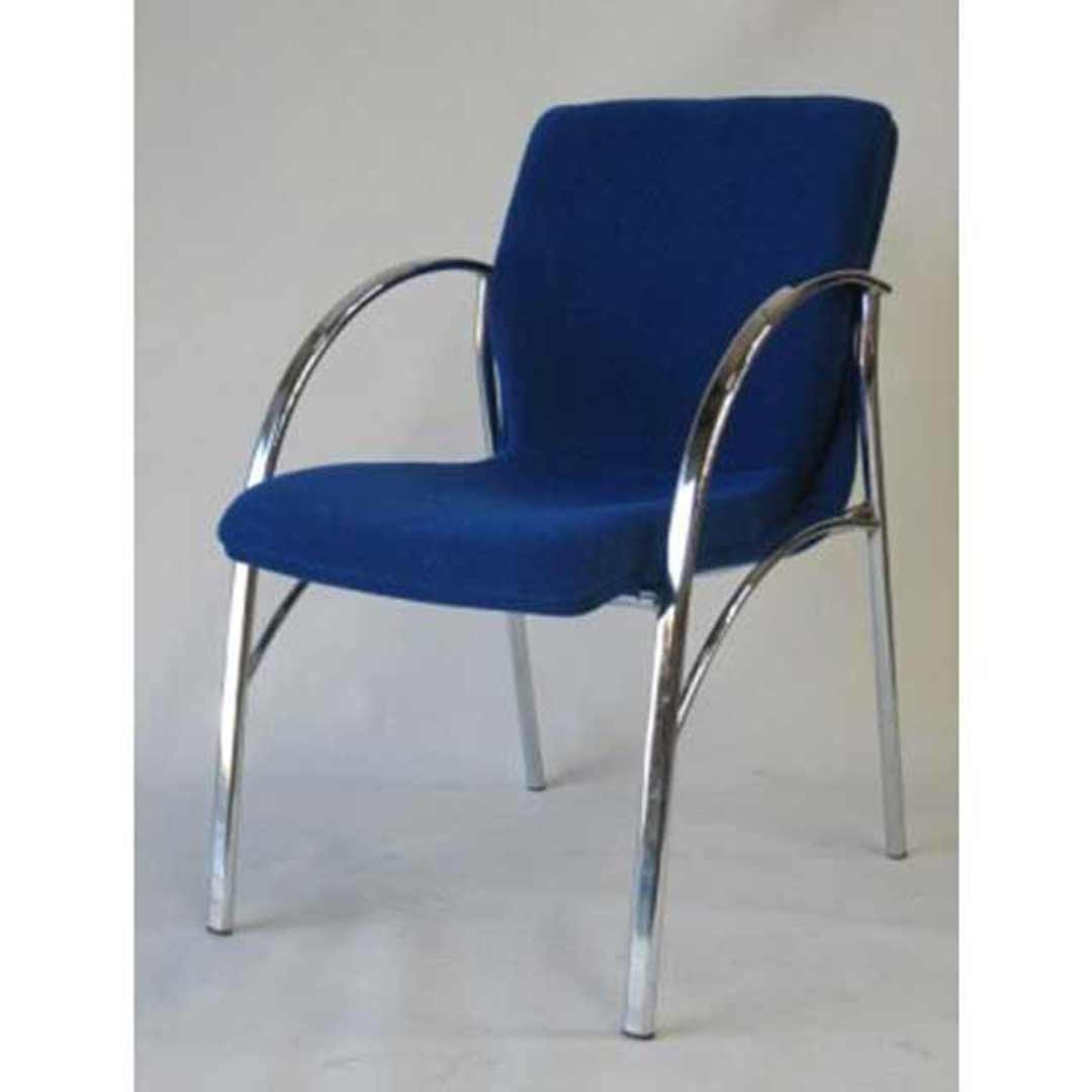 Bella Visitors Medium Back Chrome Frame Arm Chair Office Boardroom Chair Blue
