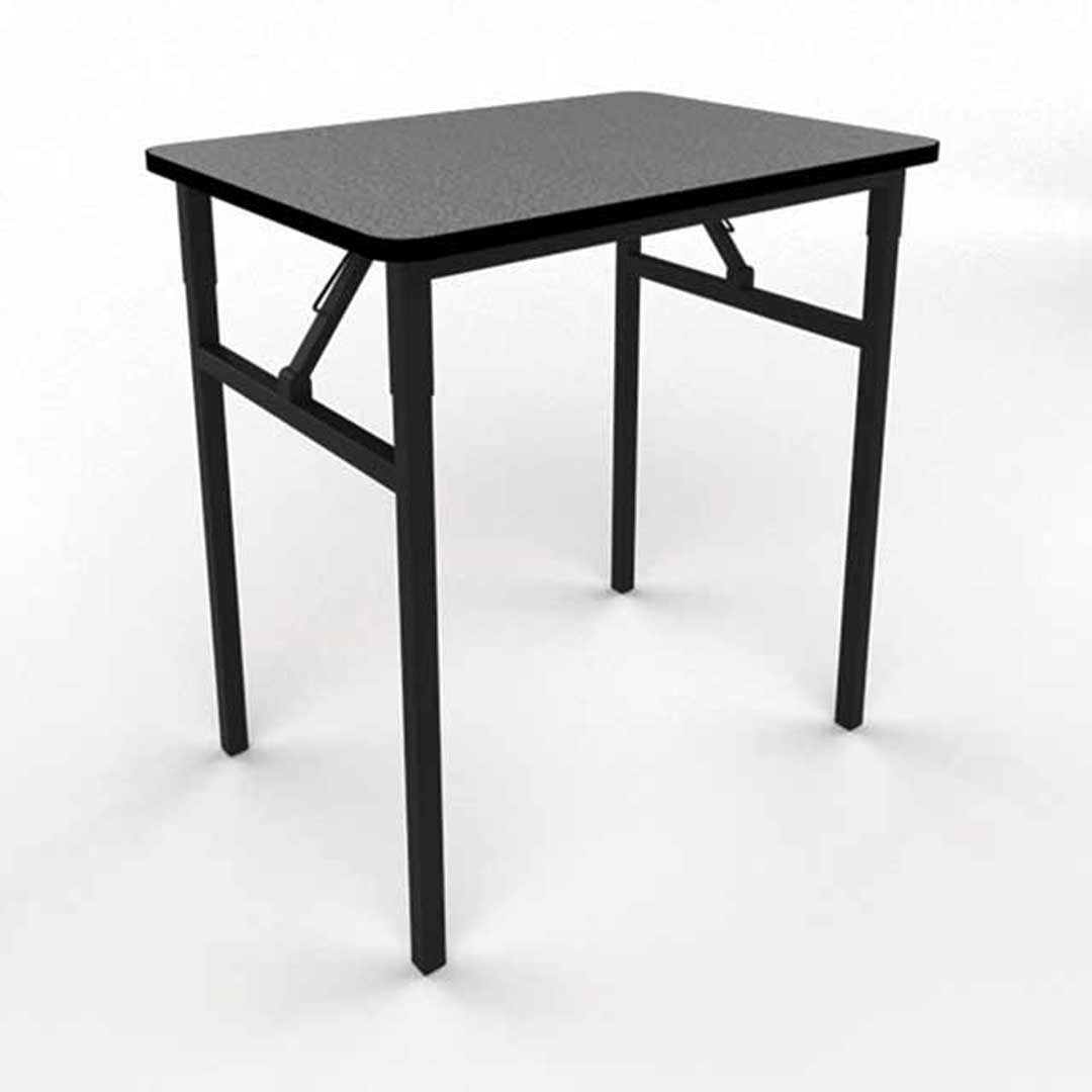 Folding Exam Classroom Student Conference Table Black Metal Frame Laminate Top 800 x 500 x 720mm H