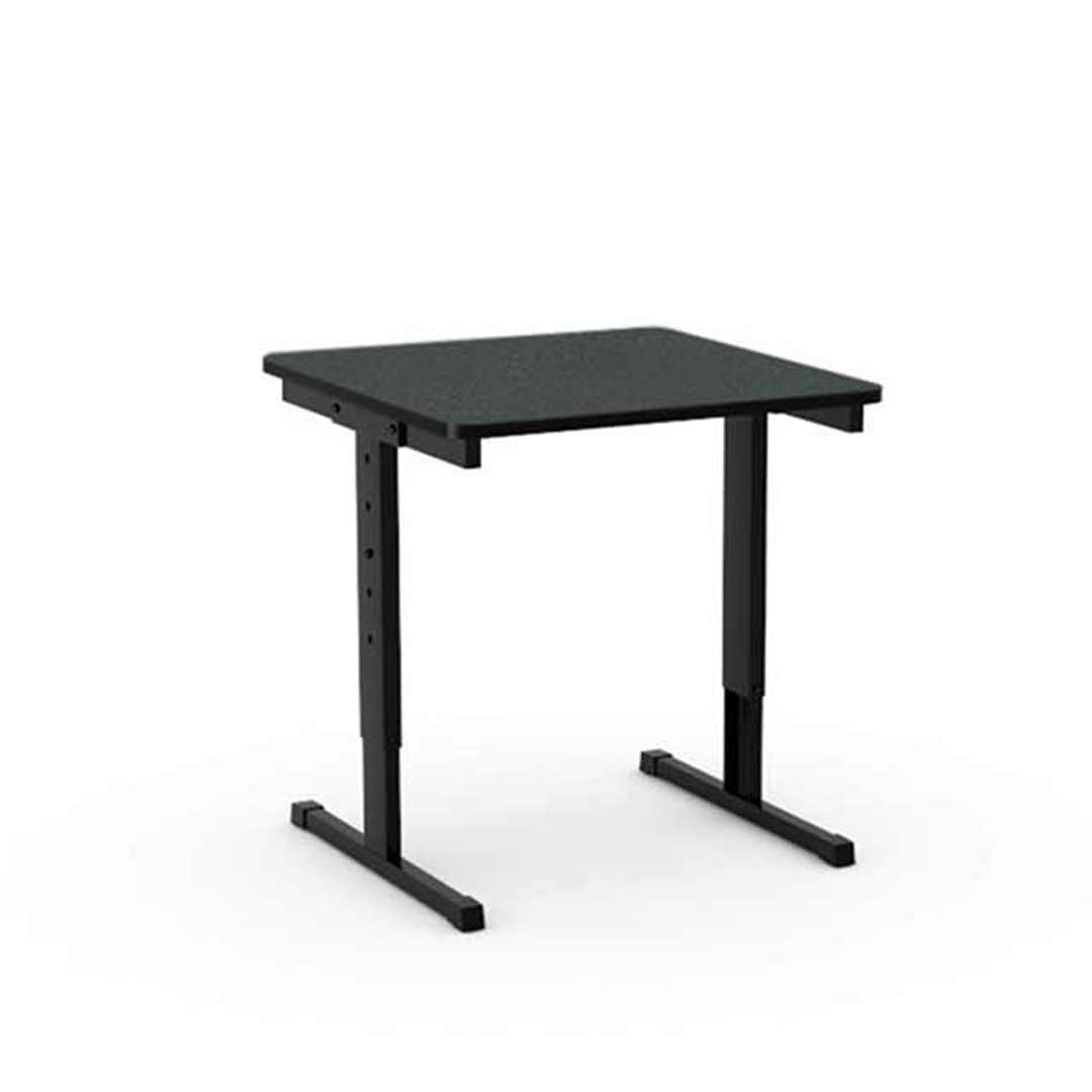 Height Adjustable Classroom Student Table Black Metal Frame Laminate Top Single Seater Studiwell 600 x 600 x 720mm H