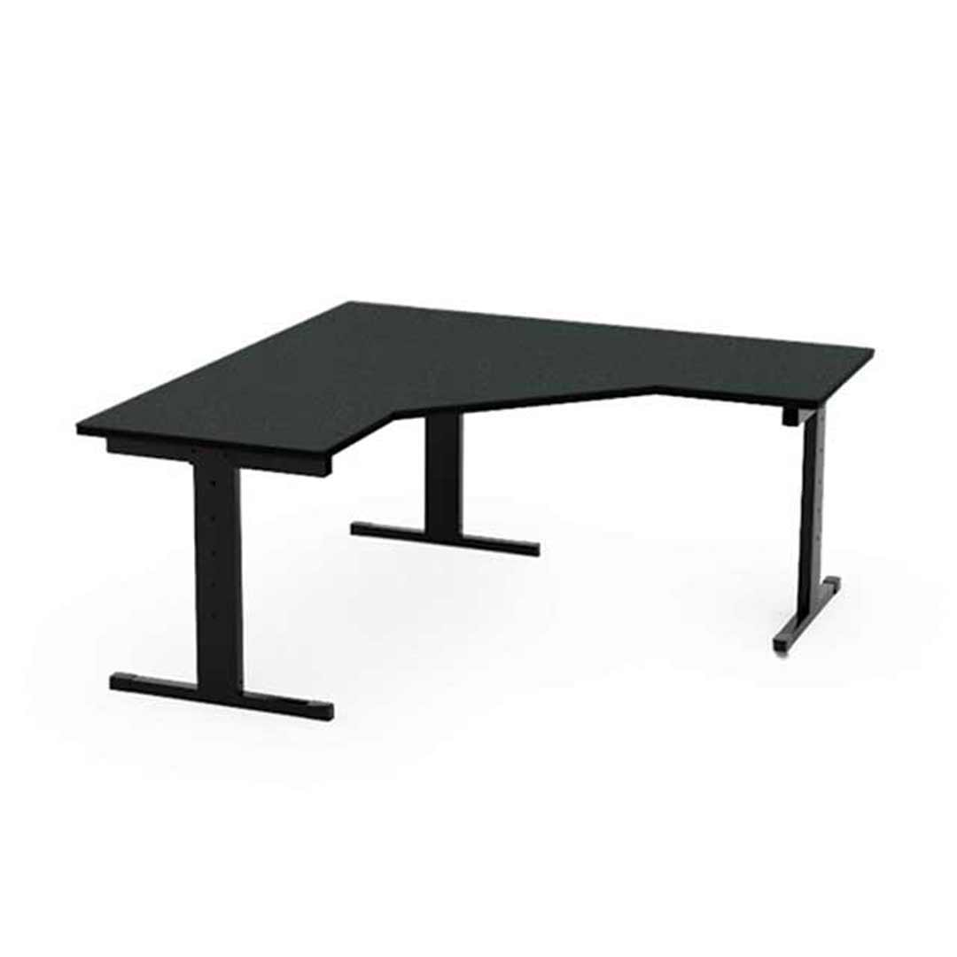 Height Adjustable Computer  Workstation Table Black Metal Frame Laminate Top Studiwell 1200 x 1100 x 495-720mm H