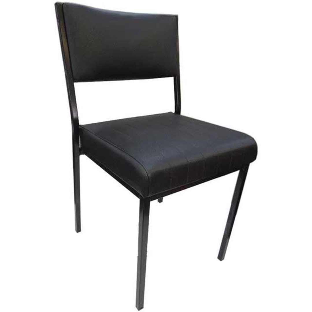 Square Dining Chairs: Square Tube Padded Vinyl Dining Chair BLACK