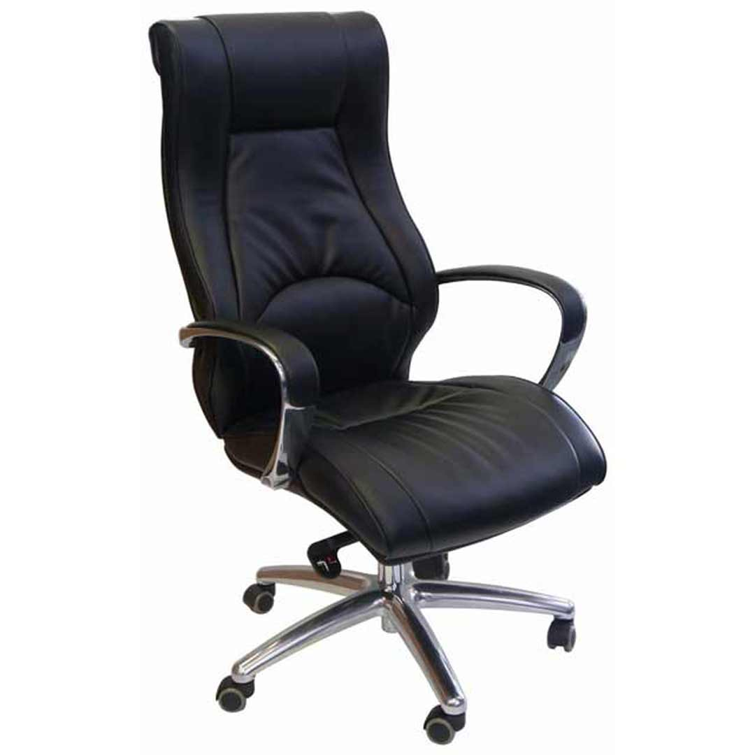 Camry Mid Back Executive Swivel Gaslift Office Chair Bonded Leather Deluxe Seat Black