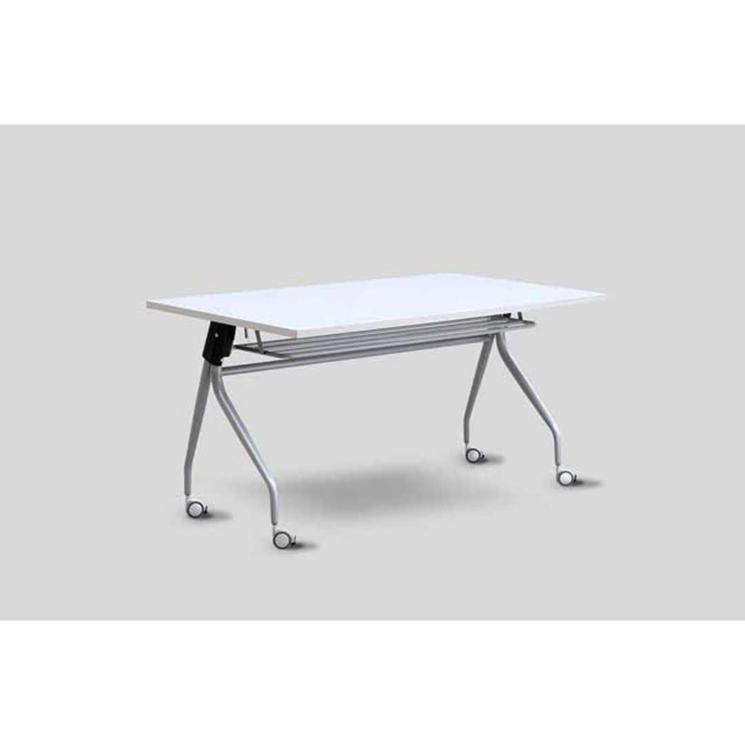 Metal Flip Grey Frame Computer Table Office Desk with Storage Silver Grey Top 1500 W x 750 D
