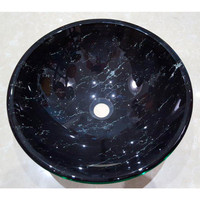 Castano Onyx Black Bathroom Round Basins Glass Vanity Vessel Sink