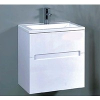 ECT Bella 600 Wall Mounted Vanity Cabinet Basin Gloss White 60cm