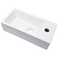 ECT Global MINI 4020W Wall Hung Basin Ceramic Vanity Vessel Sink WHITE
