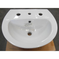 Stylus 3 Tap Hole Wall BASIN Vanity Bathroom China White Venecia 450