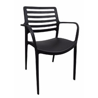 Louise Outdoor Stackable Dining  Chair Black With Arms