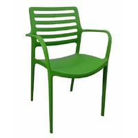 Louise Outdoor Stackable Dining  Chair Green With Arms