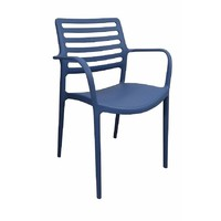 Louise Outdoor Stackable Dining Chair Blue With Arms