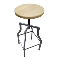 Industry Replica Turner Swivel Bar Stool with Ash Timber Seat Galvanised Look  750mm