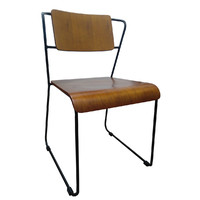 Jess Chair with Walnut Seat and Black Legs