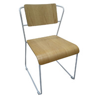 Jess Chair with Oak Seat and White Legs