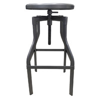 Industry Turner Swivel Bar Stool Galvanised Look 670mm x 785mm