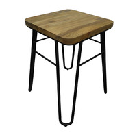 Loop Black Metal Hairpin Bar Stool with Ash Seat 460mm