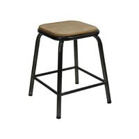 Bean Metal Stackable Retro Bar Stool with Ash Seat 450mm Gun Metal